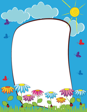 Cute kids frame with colorful flowers and butterflies