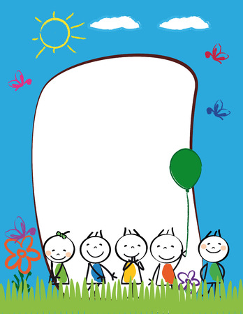 Cute kids frame with happy boys and girls Stock Vector - 24959502