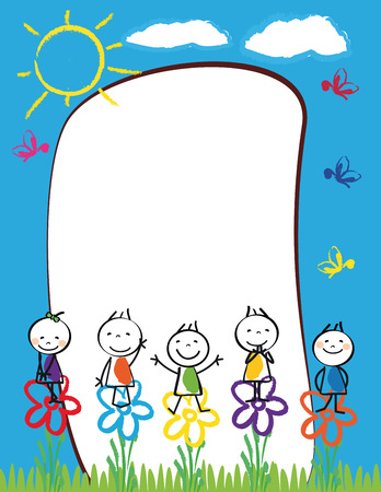 Cute kids frame with happy boys and girls