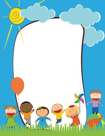 enfant qui sourit: Enfants mignons encadrent les gar�ons et les filles heureuses