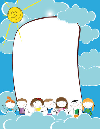 Cute kids frame with happy boys and girls Stock Vector - 24959508