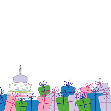 Cute card on special day with many presents Vector