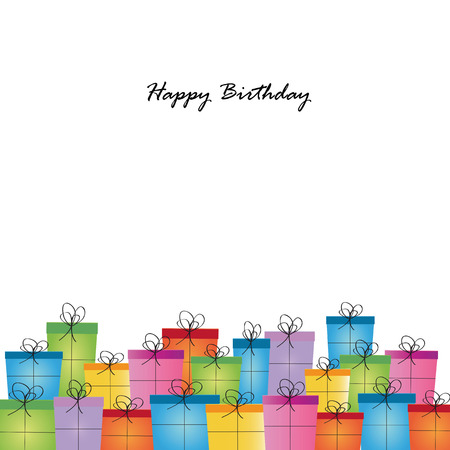 Happy birthday card on special day with many presents Vector