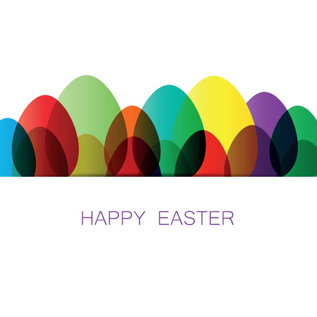 Simple and modern easter card with colorful eggs Vector