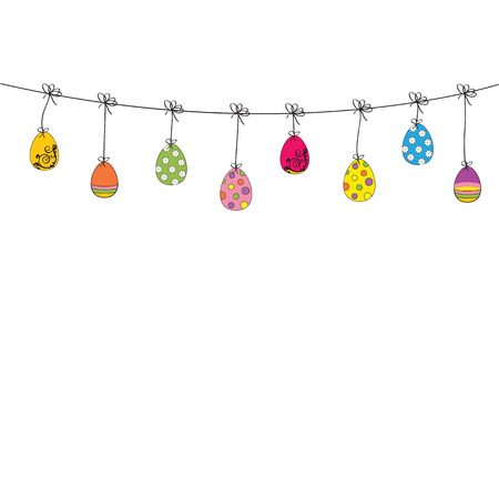 Easter cute and colorful card with many eggs Vector