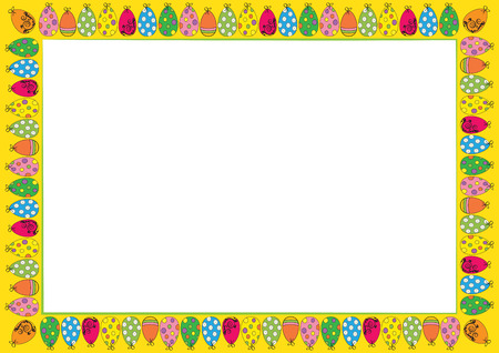 Easter cute and colorful frame with many eggs
