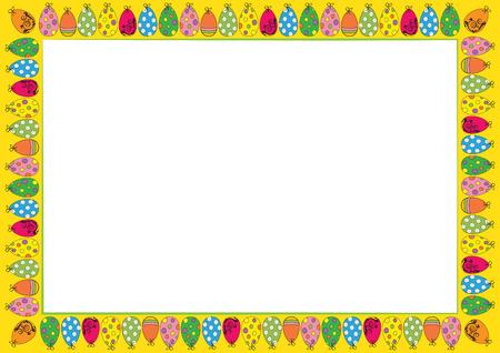 Ostern süßen und bunten Rahmen mit vielen Eiern Standard-Bild - 26066173