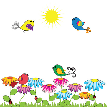 illustrazione sole: Uccelli colorati e simpatici sui fiori Vettoriali