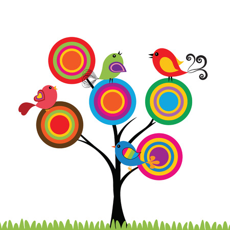 Colorful and cute birds on the tree  Vector