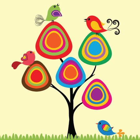 Colorful and cute birds on the tree  Stock Vector - 26380061