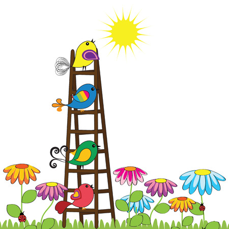 Colorful and cute birds on the ladder  Vector