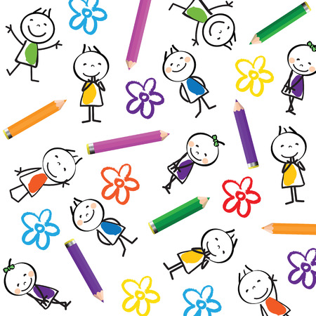 Small and smile cute children on white background Vector