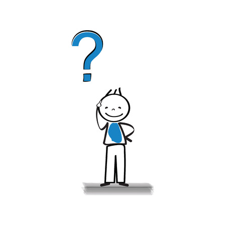 interrogatory: Thinking man - cute and cartoon simple abstract