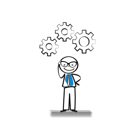 Business man thinking - simple and abstract concept Vector