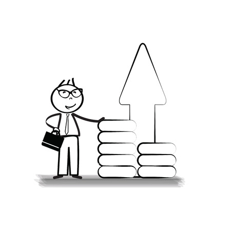 Success smiling businessman with arrow up or offers some Vector