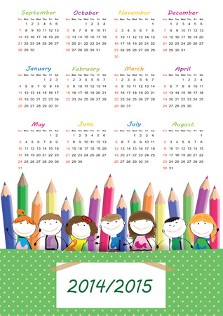 Colorful school calendar on new year school from 2014 to 2015 year Stock Vector - 26368959