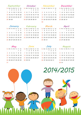 Colorful school calendar on new year school from 2014 to 2015 year Vector