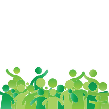 Green, happy and healthy families - abstract concept Vector
