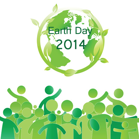 Earth day elements with globe and peoples Vector