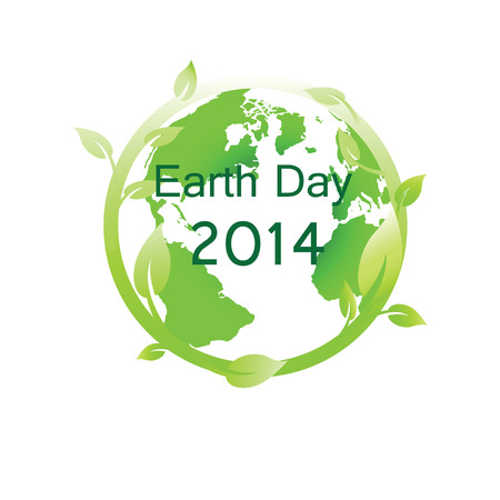 world earth day: Green globe you can use on earth day Illustration