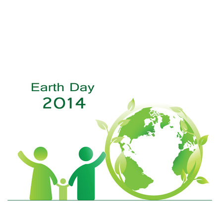 the natural world: Earth day elements with globe and peoples