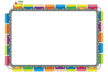 Colorful Kids Frame With Engine And Letters Royalty Free Cliparts ...