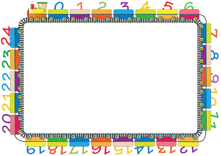 Colorful kids frame with engine and numbers