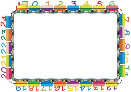 Kleurrijke kinderen frame met motor en cijfers