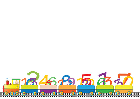 Colorful kids border with engine and numbers Vector