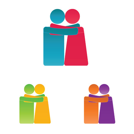 Simple and colorful pictogram showing figures happy family
