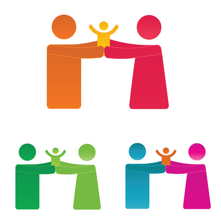 doughter: Simple and colorful pictogram showing figures happy family