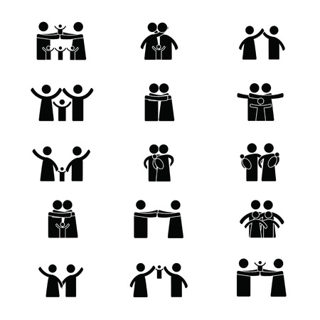 Simple black pictograms showing figures happy family