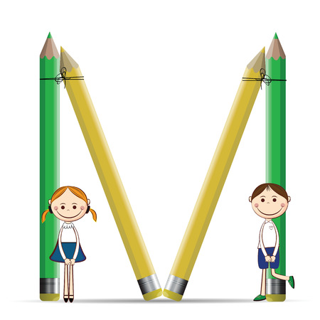 Happy kids and letter M with colorful crayons Vector