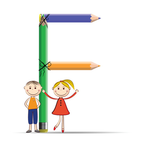 letter f: Happy kids and letter F with colorful crayons Illustration