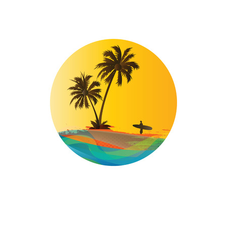 Palms and beach, exotic and summer background Vector