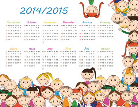 Colorful kids school calendar from 2014 to 2015 year
