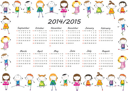 Colorful kids school calendar from 2014 to 2015 year Vector