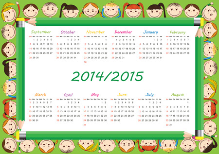 school calendar: Colorful kids school calendar from 2014 to 2015 year