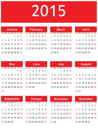 calendrier jour: Calendrier mignon et simple sur 2015 ann�es Illustration