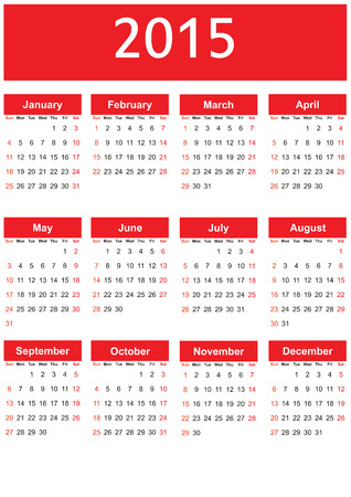 months of the year: Cute and simple calendar on 2015 year Illustration