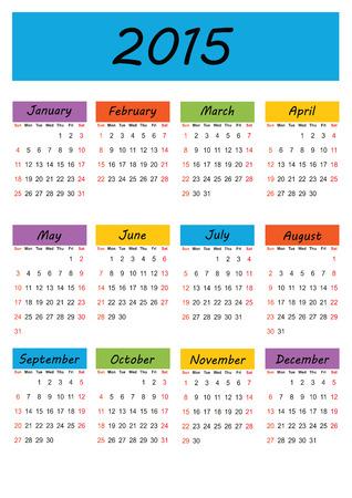 Cute and simple calendar on 2015 year Vector