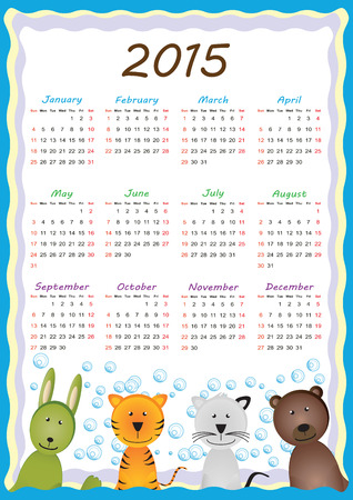 Cute calander on 2015 year with happy animals Vector