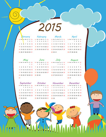 calendar september: Cute calander on 2015 year with happy kids