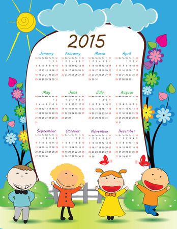 Cute calander on 2015 year with happy kids Vector