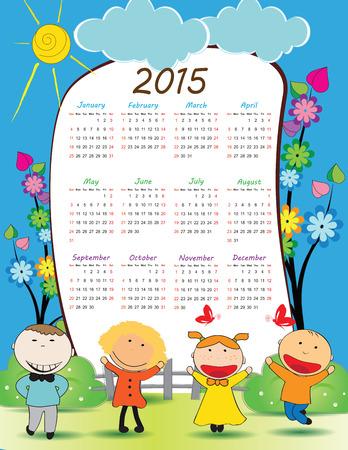 school days: Cute calander on 2015 year with happy kids
