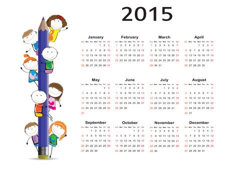 december calendar: Bambini carino e colorato calendario su 2015 anni
