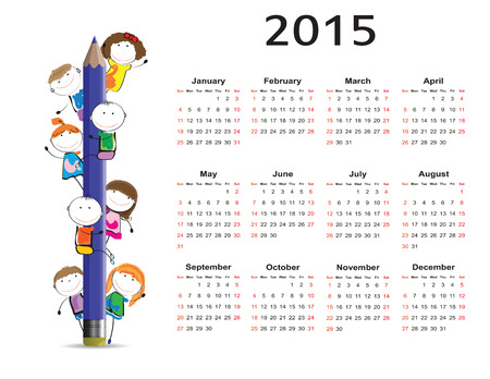 Cute and colorful kids calendar on 2015 year Illustration