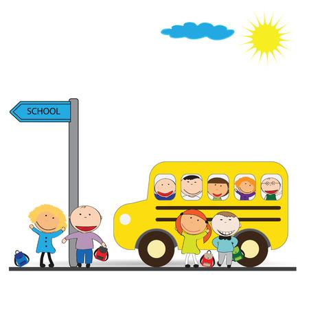 cartoon bus: Happy girls and boys back to school