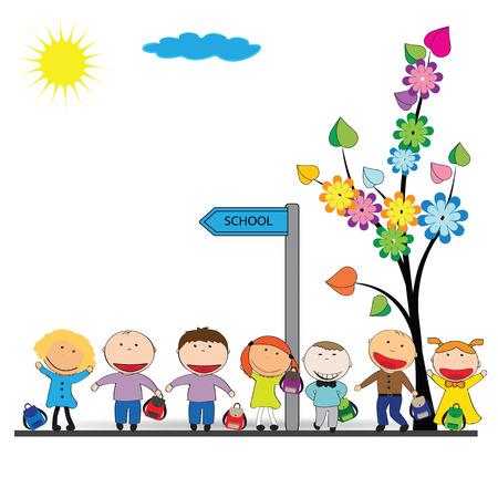 幸せな女の子と男の子に学校に戻る  イラスト・ベクター素材