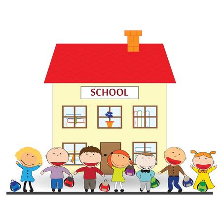 幸せな女の子と男の子が学校に戻る